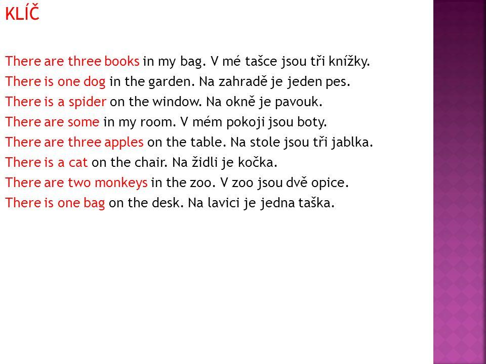 KLÍČ There are three books in my bag. V mé tašce jsou tři knížky.