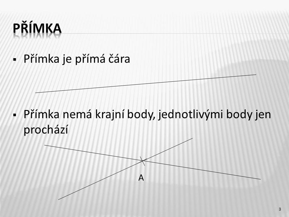  Přímka je přímá čára  Přímka nemá krajní body, jednotlivými body jen prochází 3 A