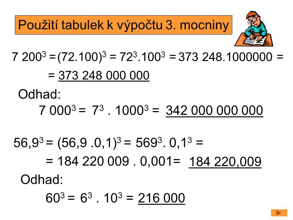 7 200 3 =(72.100) 3 = 56,9 3 = (56,9.0,1) 3 = Odhad: Použití tabulek k výpočtu 3. mocniny 72 3.100 3 =373 248.1000000 = = 373 248 000 000 569 3. 0,1 3