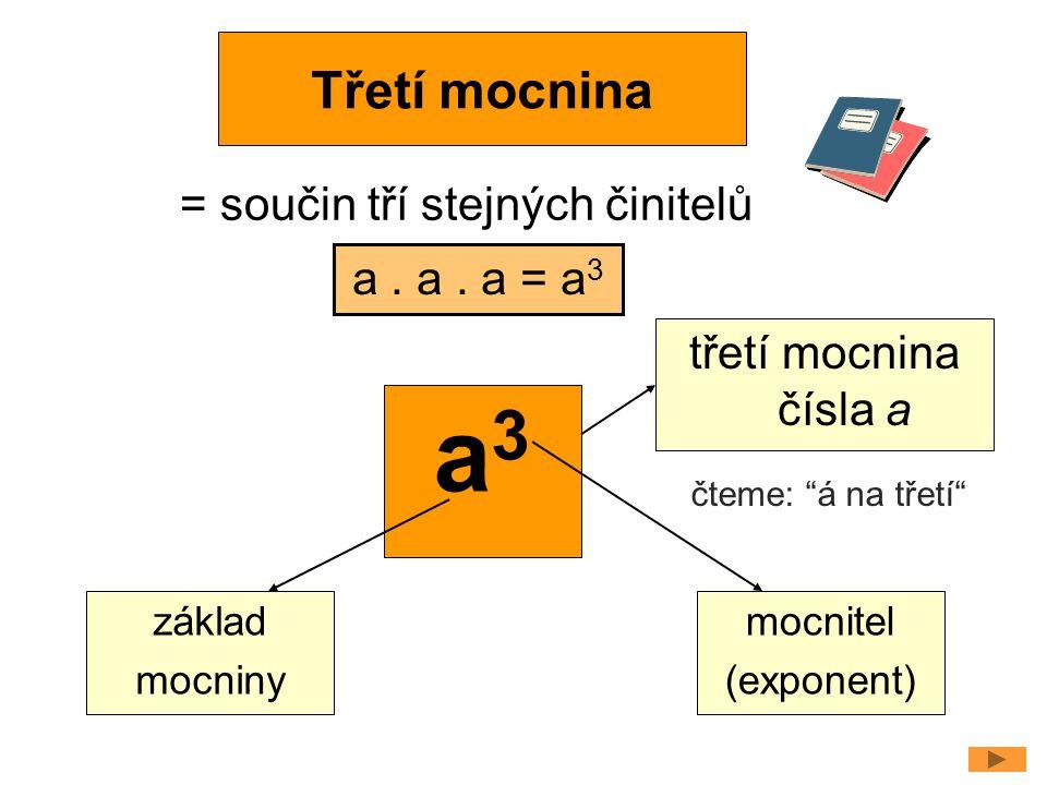 """Třetí mocnina = součin tří stejných činitelů a. a. a = a 3 a3a3 základ mocniny mocnitel (exponent) třetí mocnina čísla a čteme: """"á na třetí"""""""
