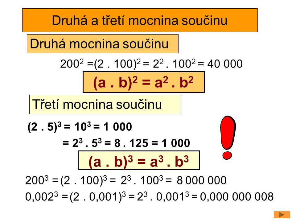 Druhá a třetí mocnina součinu (2. 5) 3 =10 3 = 1 000 (a. b) 3 = a 3. b 3 = 2 3. 5 3 = 8. 125 = 1 000 Třetí mocnina součinu 200 3 = 0,002 3 = (a. b) 2