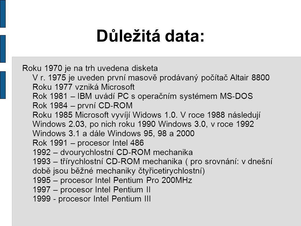 Důležitá data: Roku 1970 je na trh uvedena disketa V r. 1975 je uveden první masově prodávaný počítač Altair 8800 Roku 1977 vzniká Microsoft Rok 1981