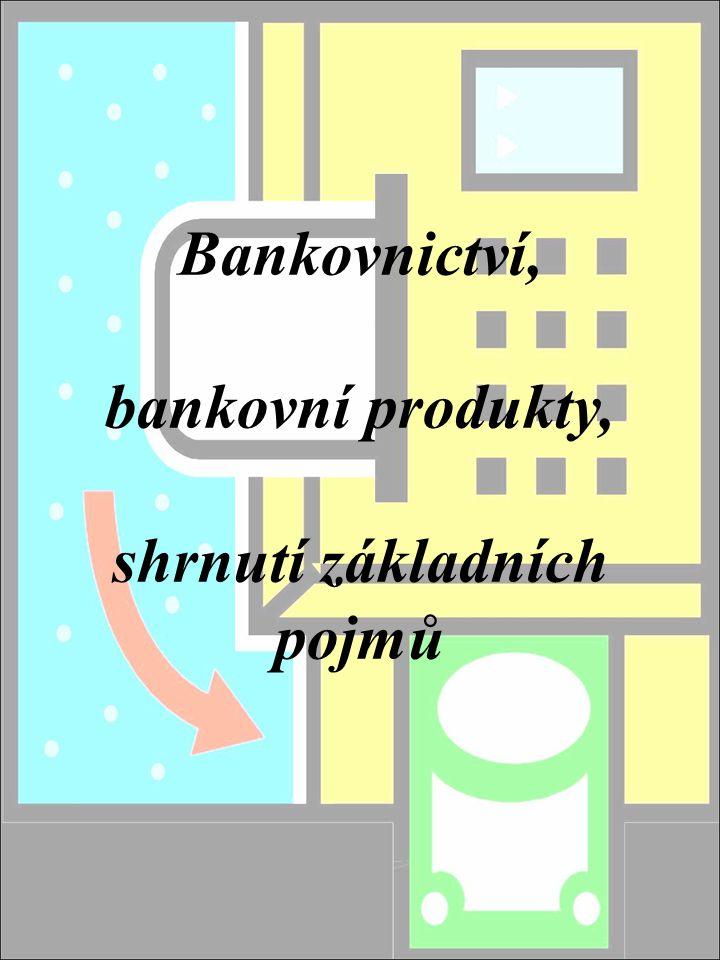 Bankovnictví, bankovní produkty, shrnutí základních pojmů