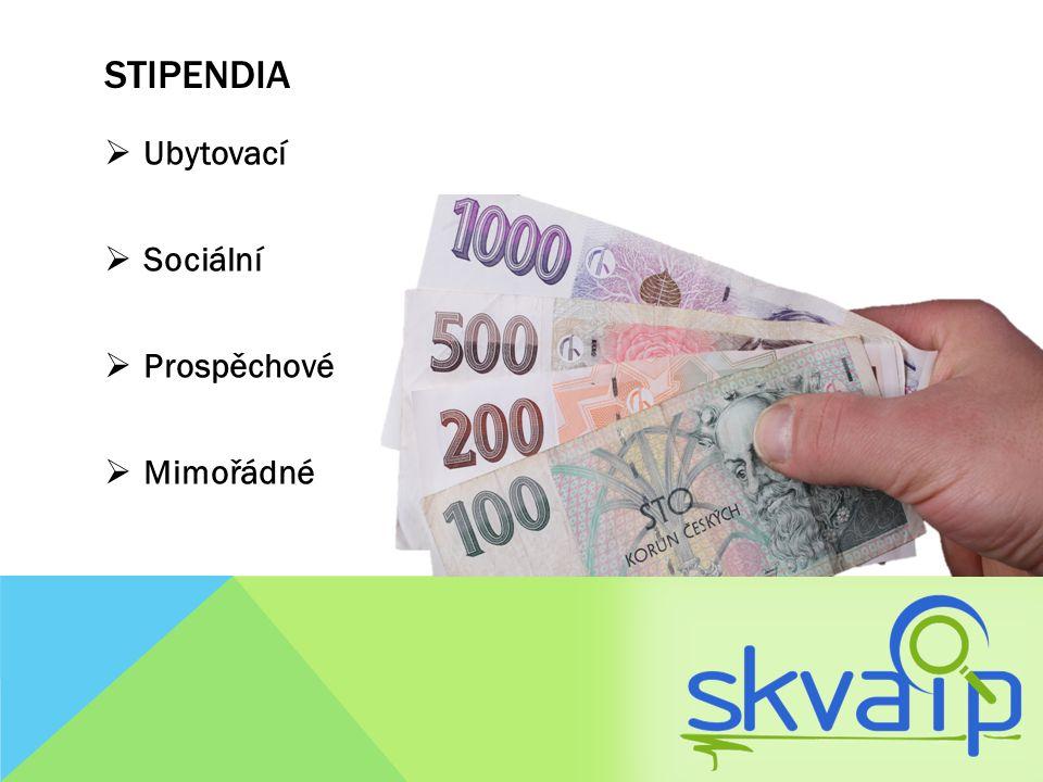STIPENDIA Ubytovací  Dostává student, který studuje v prvním prezenčním programu (Bc.)  Bydlí mimo okres Plzeň-město a nepřekročil standardní dobu studia (Bc.3+1, popř.