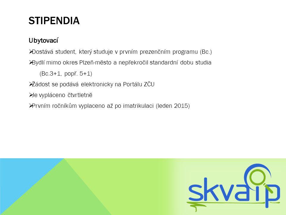 STIPENDIA Ubytovací  Dostává student, který studuje v prvním prezenčním programu (Bc.)  Bydlí mimo okres Plzeň-město a nepřekročil standardní dobu s