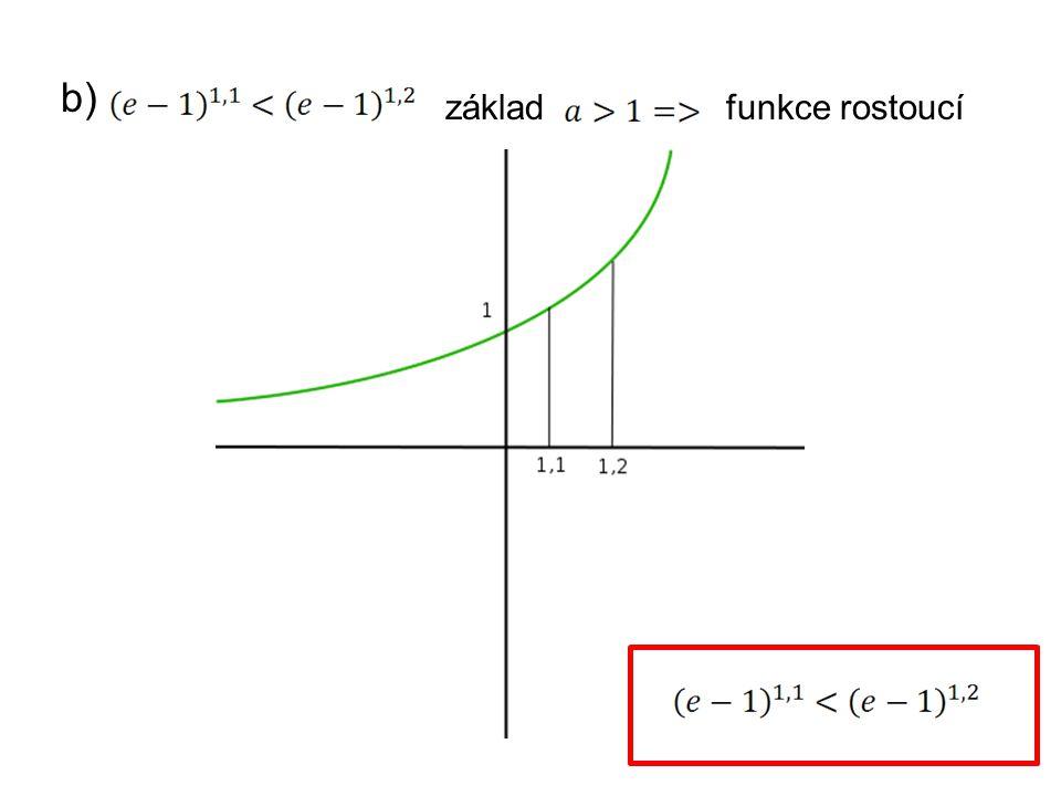 """c) Co platí pro základ """"a platí-li: nakreslíme si hodnoty v bodě 4 a 3 funkce klesá"""