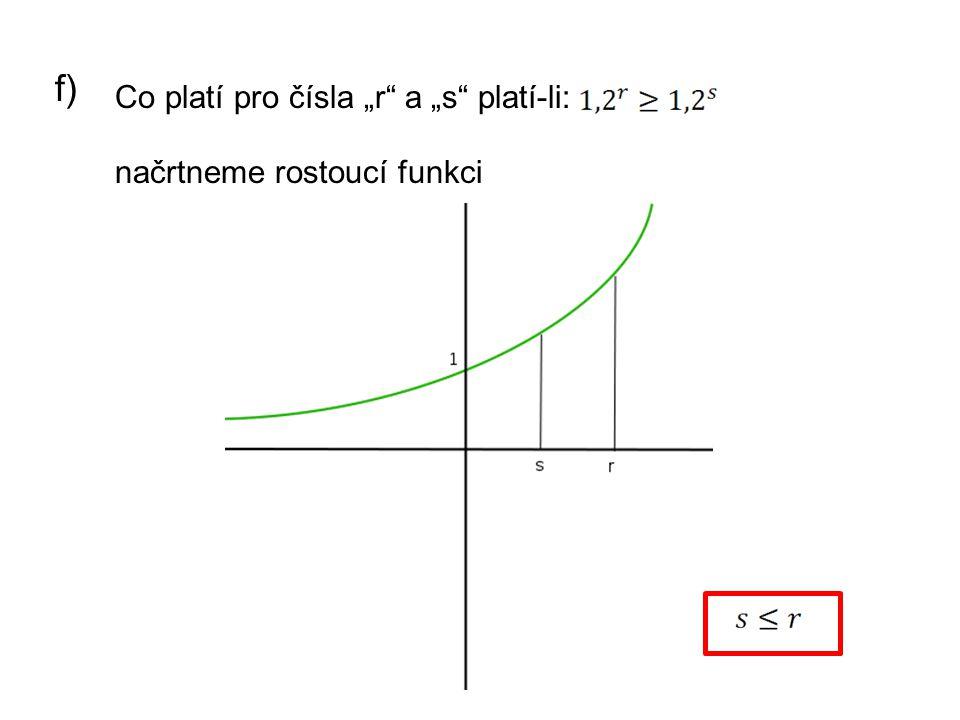 """f) Co platí pro čísla """"r a """"s platí-li: načrtneme rostoucí funkci"""