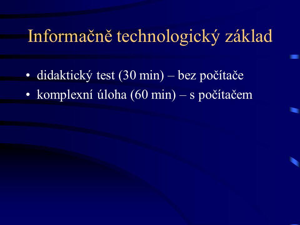 Tematické okruhy ITZ informace a informační zdroje hardware a software, sítě využití internetu textový editor počítačová grafika, prezentace, web databázové aplikace algoritmizace a základy programování, makra