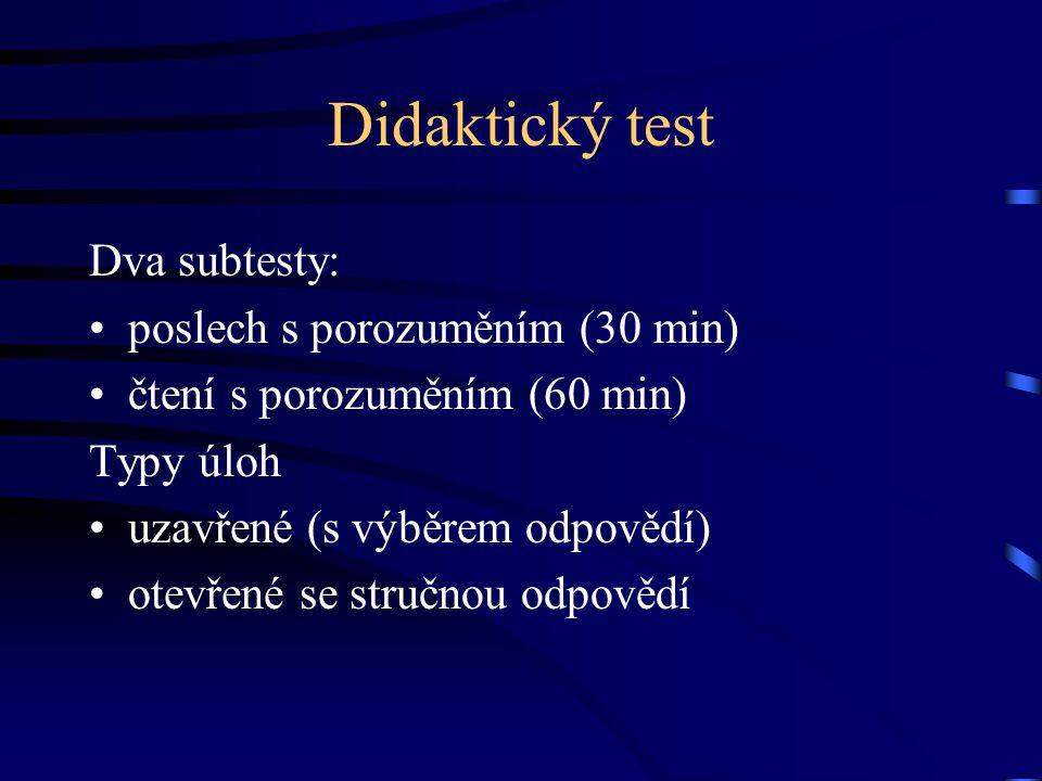 Volitelná zkouška v SČ Matematika 1 Občanský základ Přírodovědně technický základ Informačně technologický základ -------------------------------------------------------- Písemná (praktická) zkouška – didaktický test (90 min)