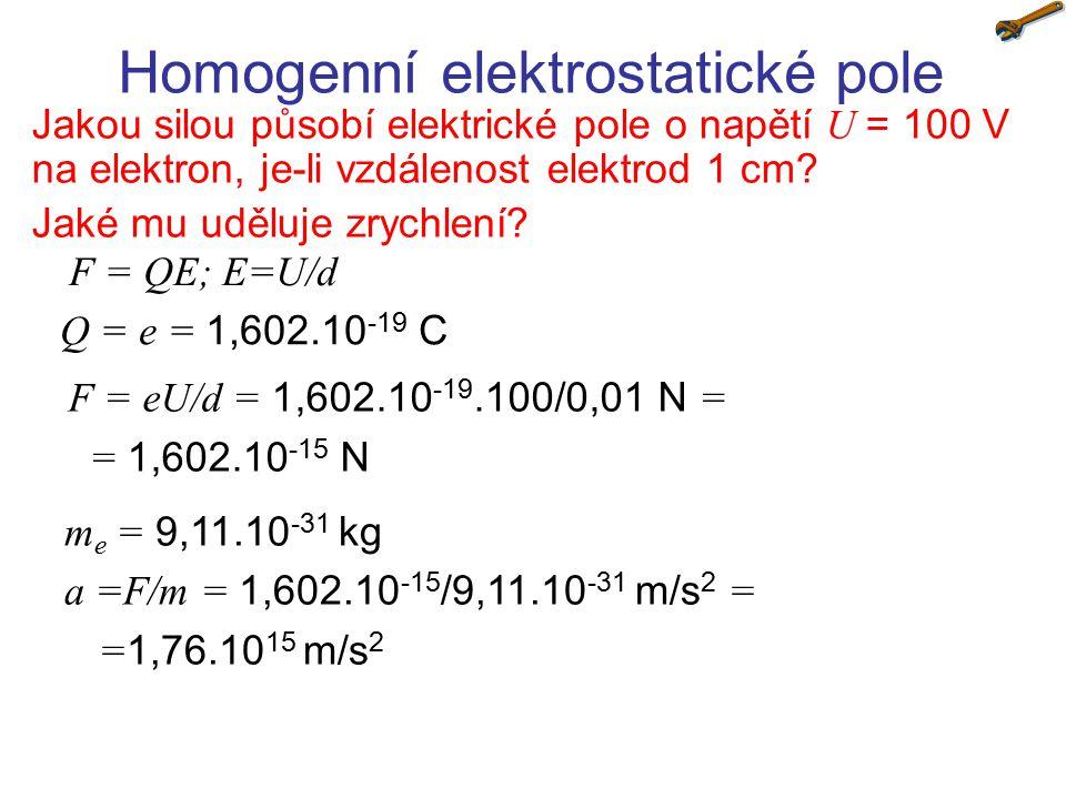 Homogenní elektrostatické pole Jakou silou působí elektrické pole o napětí U = 100 V na elektron, je-li vzdálenost elektrod 1 cm? Jaké mu uděluje zryc