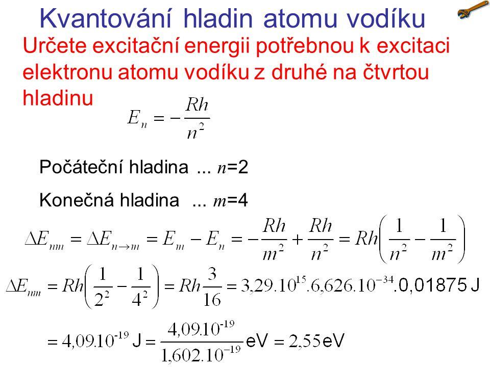 Kvantování hladin atomu vodíku Určete excitační energii potřebnou k excitaci elektronu atomu vodíku z druhé na čtvrtou hladinu Počáteční hladina... n