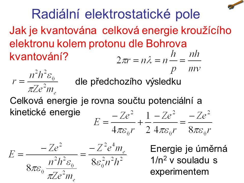 Radiální elektrostatické pole Určete Rydbergovu konstantu na základě srovnání energetických hladin atomu vodíku určených z Bohrova kvantování s experimentálním zavedením Rydbergovy konstanty dle Bohrova kvantování dle experimentu porovnáním 