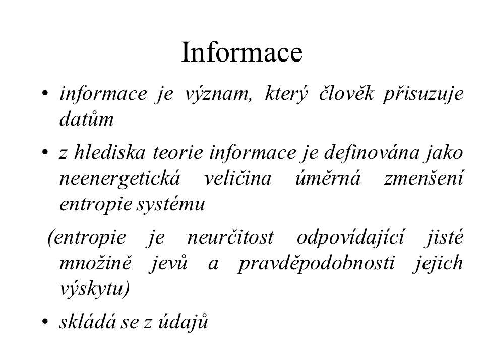 Informace informace je význam, který člověk přisuzuje datům z hlediska teorie informace je definována jako neenergetická veličina úměrná zmenšení entropie systému (entropie je neurčitost odpovídající jisté množině jevů a pravděpodobnosti jejich výskytu) skládá se z údajů