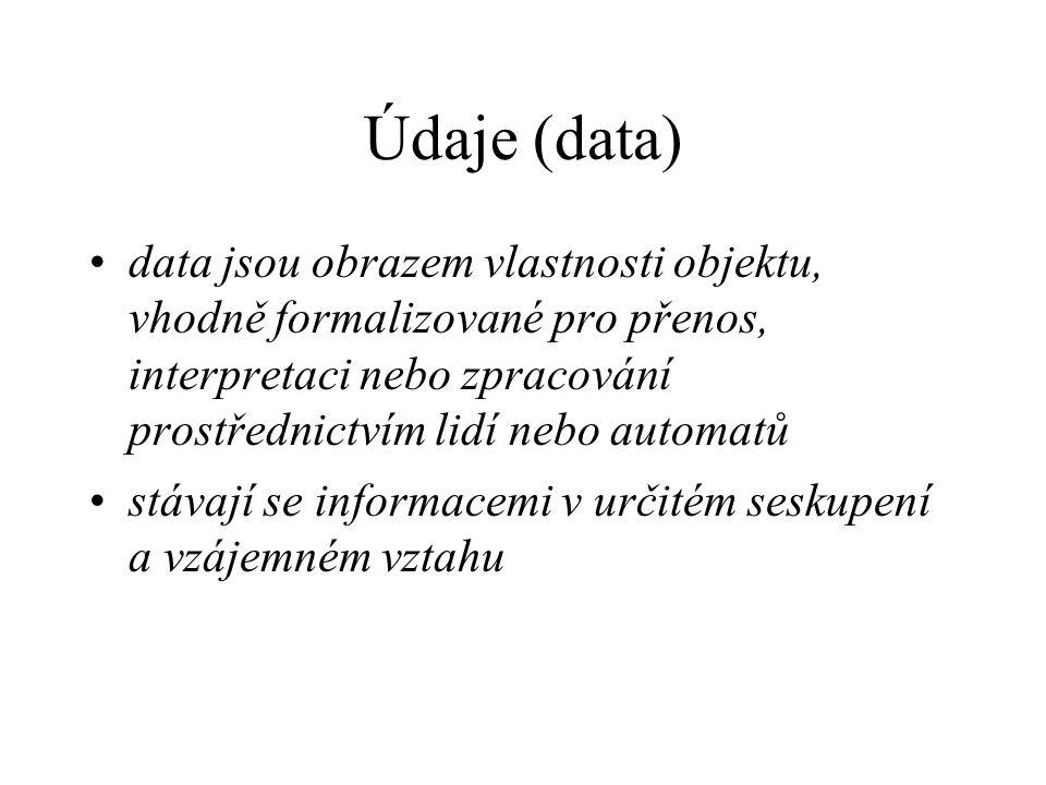 Údaje (data) data jsou obrazem vlastnosti objektu, vhodně formalizované pro přenos, interpretaci nebo zpracování prostřednictvím lidí nebo automatů stávají se informacemi v určitém seskupení a vzájemném vztahu