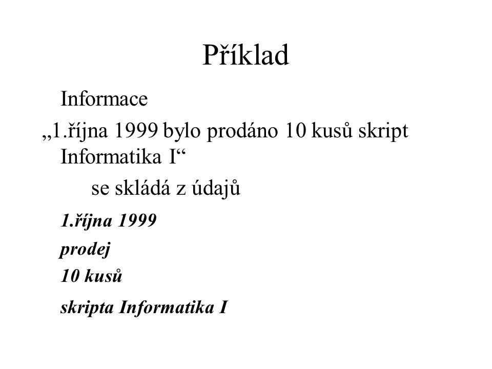 """Příklad Informace """"1.října 1999 bylo prodáno 10 kusů skript Informatika I se skládá z údajů 1.října 1999 prodej 10 kusů skripta Informatika I"""