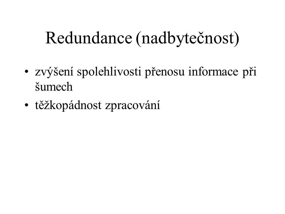 Redundance (nadbytečnost) zvýšení spolehlivosti přenosu informace při šumech těžkopádnost zpracování