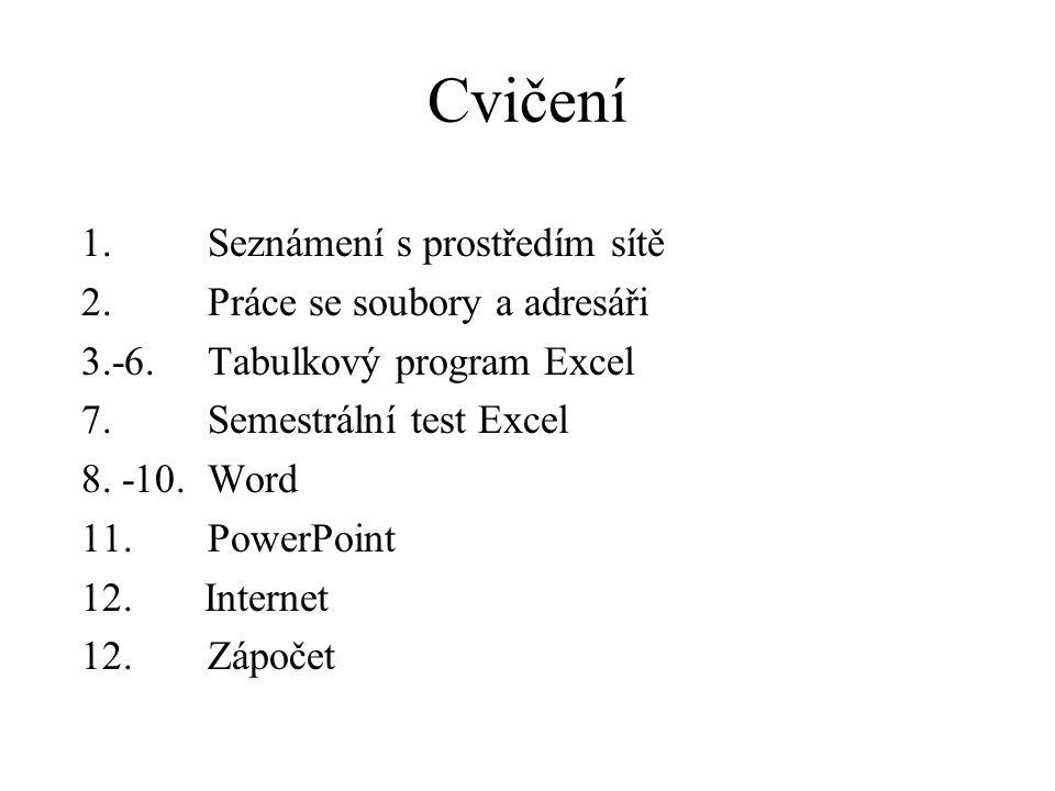 Cvičení 1. Seznámení s prostředím sítě 2. Práce se soubory a adresáři 3.-6.
