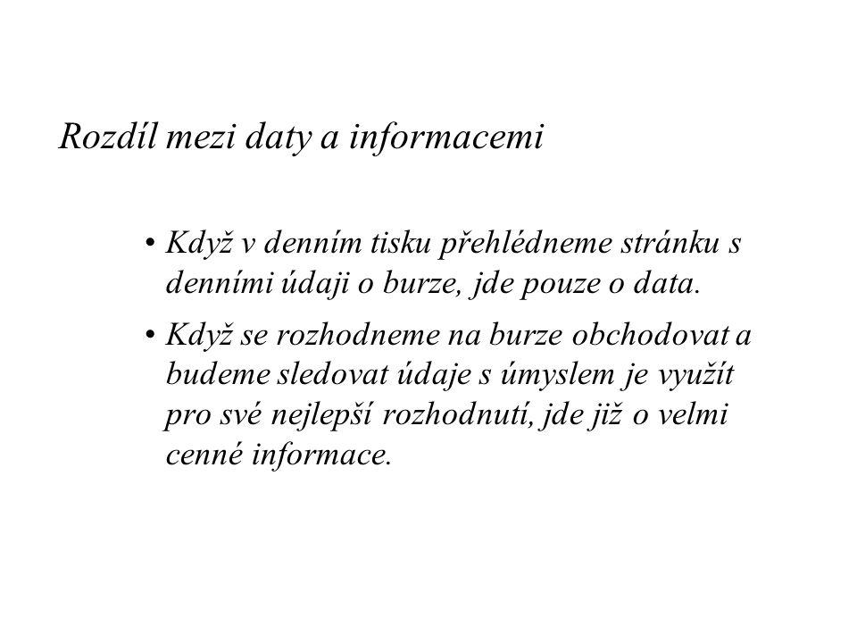 Rozdíl mezi daty a informacemi Když v denním tisku přehlédneme stránku s denními údaji o burze, jde pouze o data.