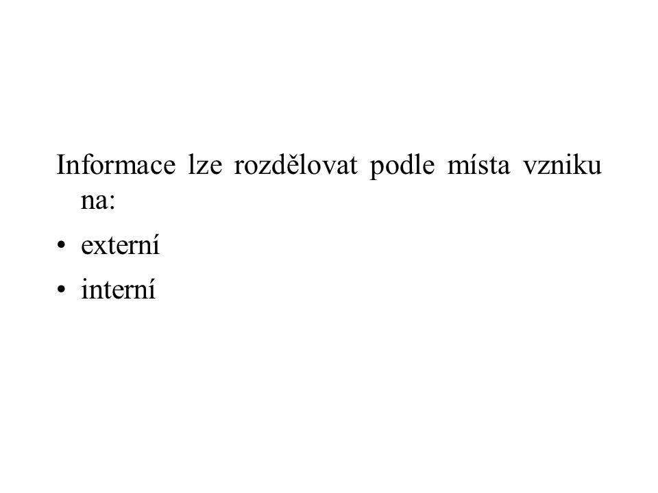 Informace lze rozdělovat podle místa vzniku na: externí interní