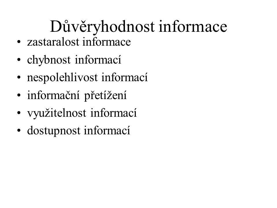 Důvěryhodnost informace zastaralost informace chybnost informací nespolehlivost informací informační přetížení využitelnost informací dostupnost informací