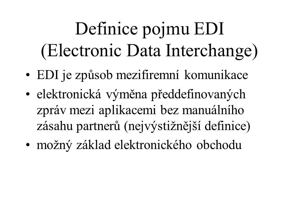Definice pojmu EDI (Electronic Data Interchange) EDI je způsob mezifiremní komunikace elektronická výměna předdefinovaných zpráv mezi aplikacemi bez manuálního zásahu partnerů (nejvýstižnější definice) možný základ elektronického obchodu