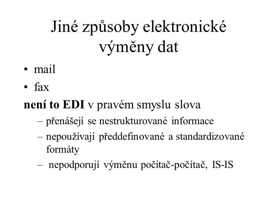 Jiné způsoby elektronické výměny dat mail fax není to EDI v pravém smyslu slova –přenášejí se nestrukturované informace –nepoužívají předdefinované a standardizované formáty – nepodporují výměnu počítač-počítač, IS-IS