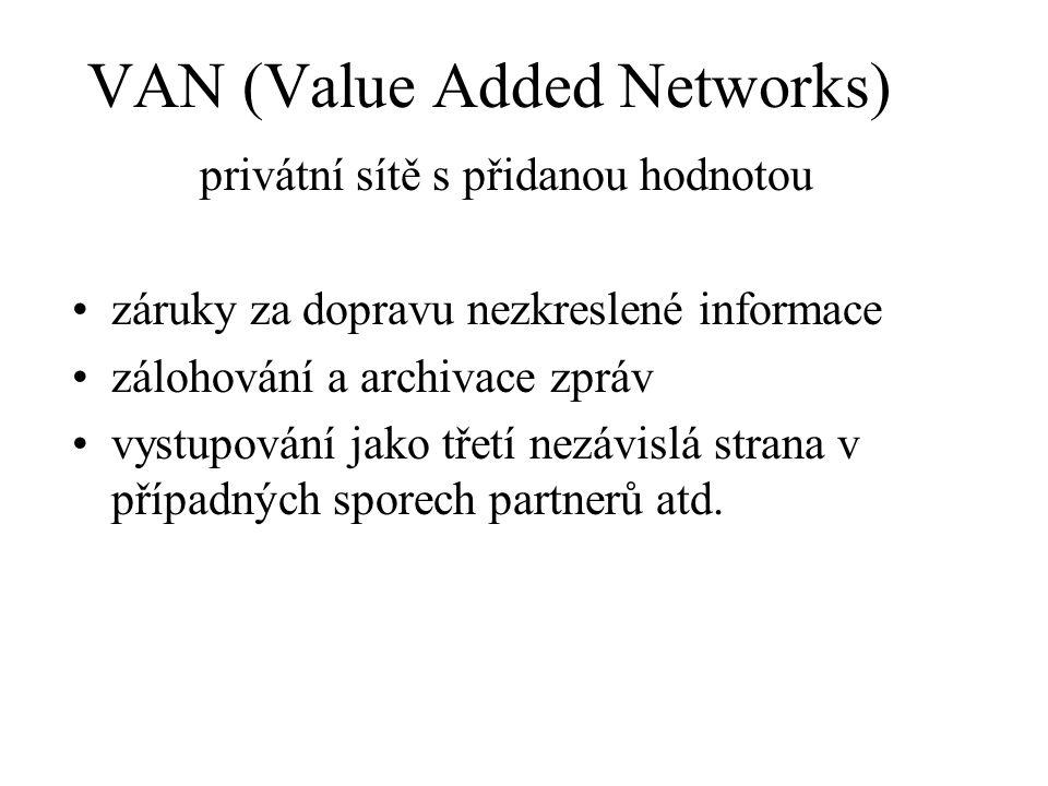 VAN (Value Added Networks) privátní sítě s přidanou hodnotou záruky za dopravu nezkreslené informace zálohování a archivace zpráv vystupování jako třetí nezávislá strana v případných sporech partnerů atd.