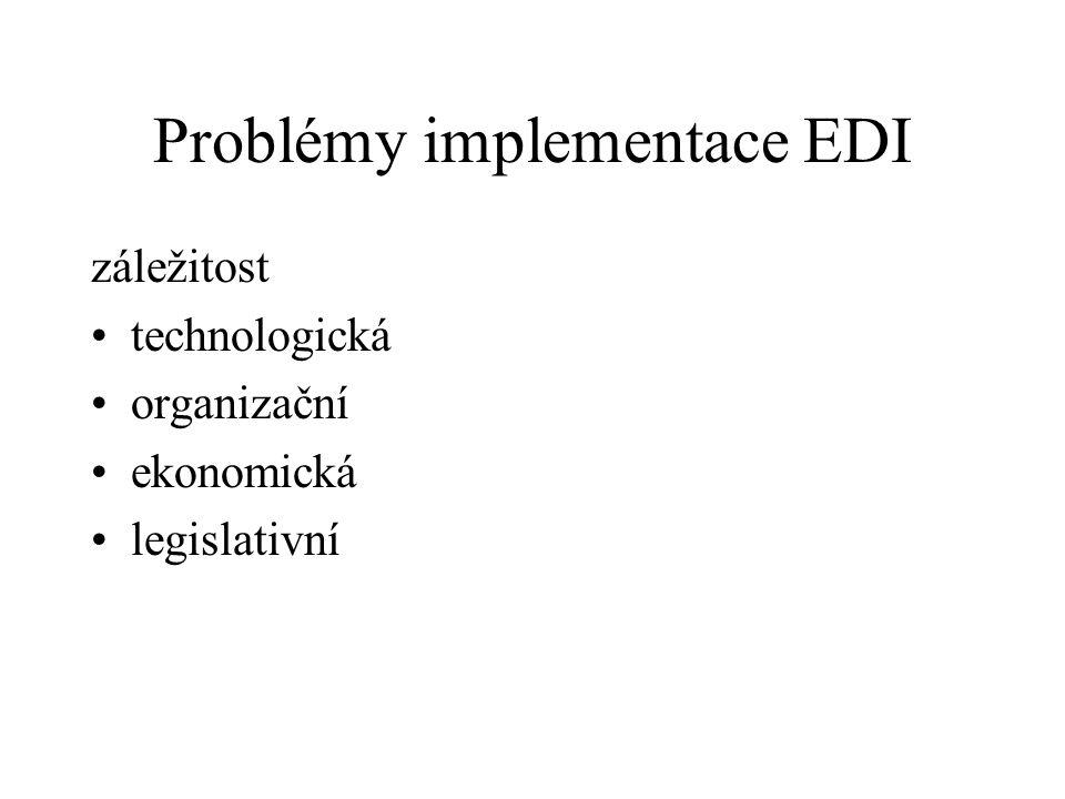 Problémy implementace EDI záležitost technologická organizační ekonomická legislativní
