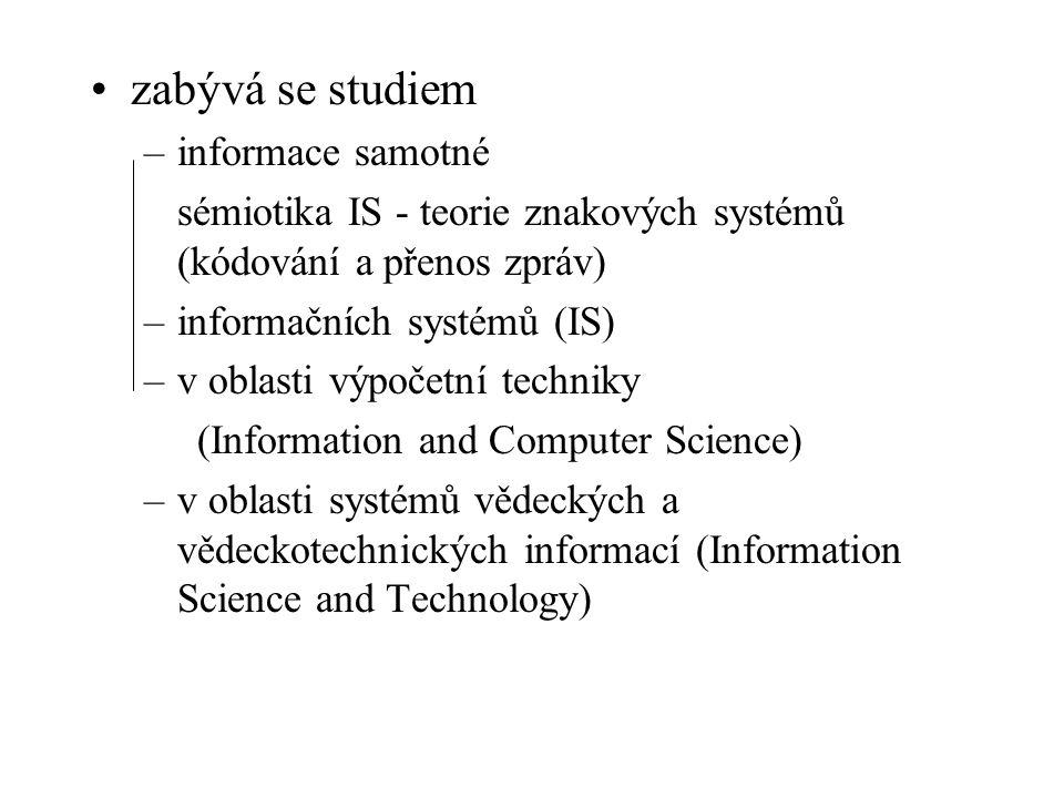 zabývá se studiem –informace samotné sémiotika IS - teorie znakových systémů (kódování a přenos zpráv) –informačních systémů (IS) –v oblasti výpočetní techniky (Information and Computer Science) –v oblasti systémů vědeckých a vědeckotechnických informací (Information Science and Technology)