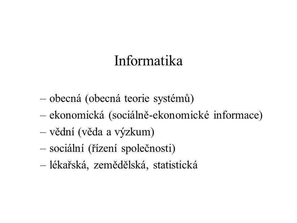 Informatika –obecná (obecná teorie systémů) –ekonomická (sociálně-ekonomické informace) –vědní (věda a výzkum) –sociální (řízení společnosti) –lékařská, zemědělská, statistická