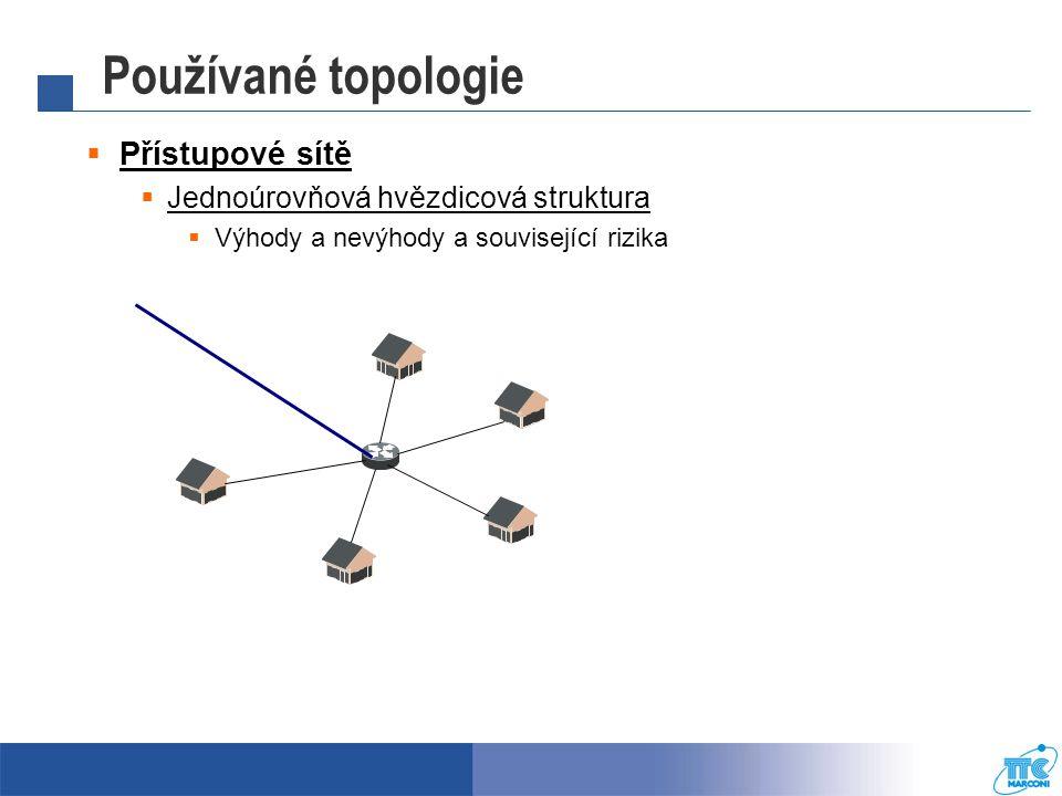 Používané topologie  Přístupové sítě  Jednoúrovňová hvězdicová struktura  Výhody a nevýhody a související rizika