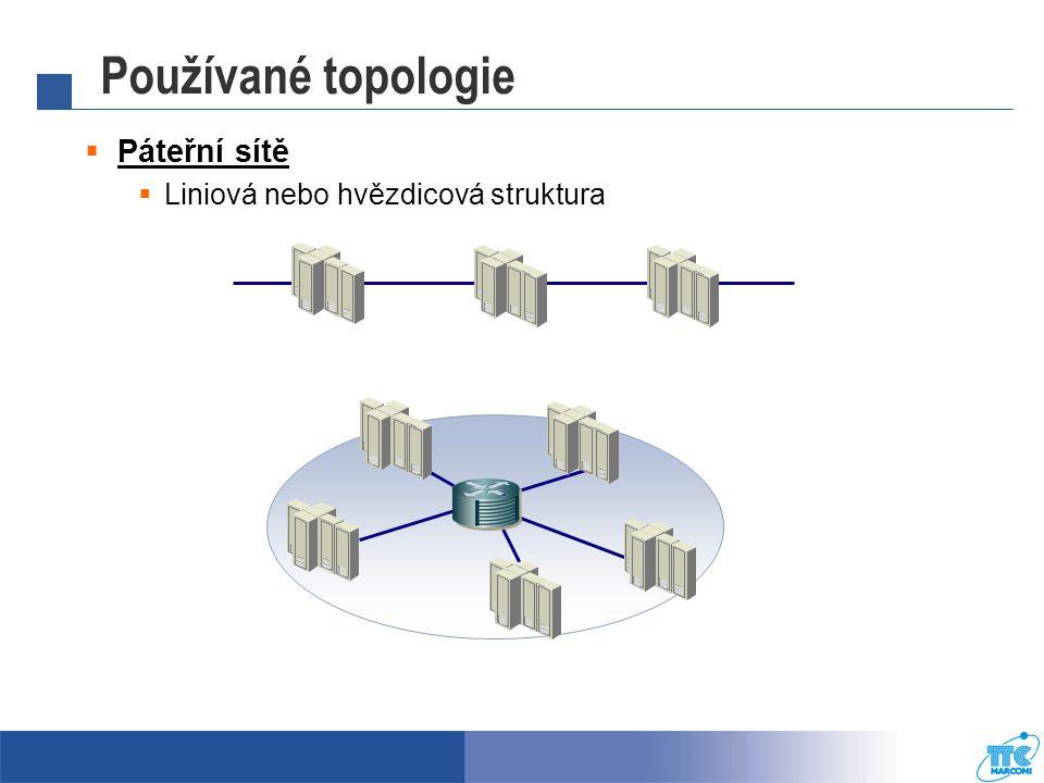 Používané topologie  Páteřní sítě  Liniová nebo hvězdicová struktura