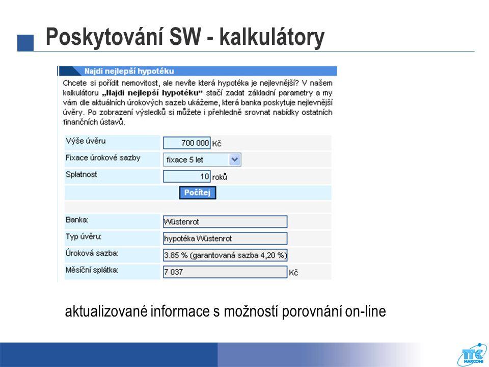 Poskytování SW - kalkulátory aktualizované informace s možností porovnání on-line