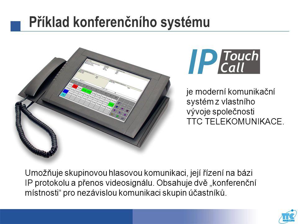 Příklad konferenčního systému Umožňuje skupinovou hlasovou komunikaci, její řízení na bázi IP protokolu a přenos videosignálu.