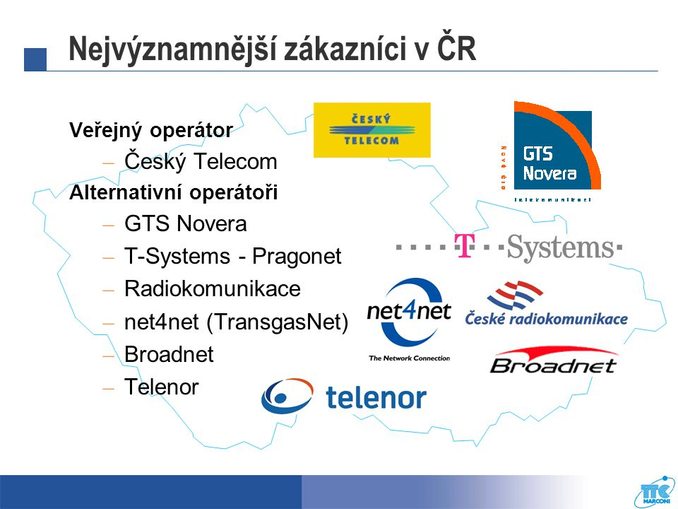 Nejvýznamnější zákazníci v ČR Veřejný operátor – Český Telecom Alternativní operátoři – GTS Novera – T-Systems - Pragonet – Radiokomunikace – net4net (TransgasNet) – Broadnet – Telenor