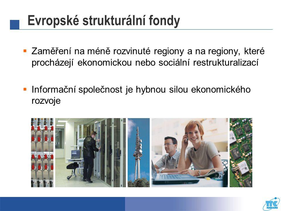 """Evropské strukturální fondy Katalyzátor dalšího vývoje  Modernizace a zefektivnění veřejného sektoru  Stimulace poptávky soukromého sektoru  Vývoj a rozvoj obsahu  Zvyšování """"Digitálních znalostí"""