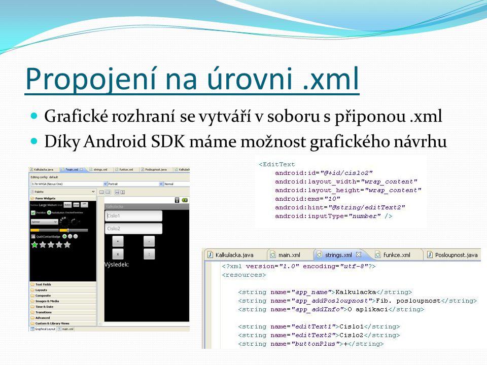 Propojení na úrovni.xml Grafické rozhraní se vytváří v soboru s připonou.xml Díky Android SDK máme možnost grafického návrhu