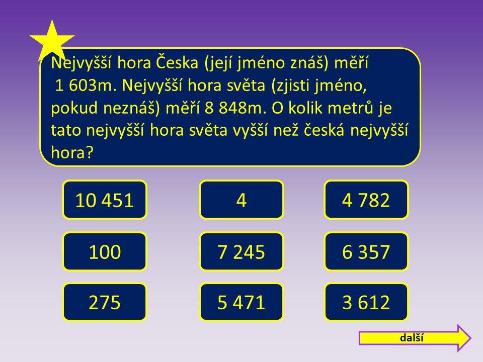 Nejvyšší hora Česka (její jméno znáš) měří 1 603m.