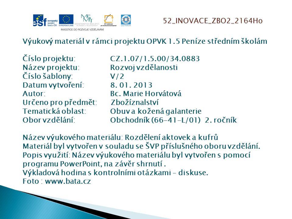 52_INOVACE_ZBO2_2164Ho Výukový materiál v rámci projektu OPVK 1.5 Peníze středním školám Číslo projektu:CZ.1.07/1.5.00/34.0883 Název projektu:Rozvoj vzdělanosti Číslo šablony: V/2 Datum vytvoření:8.