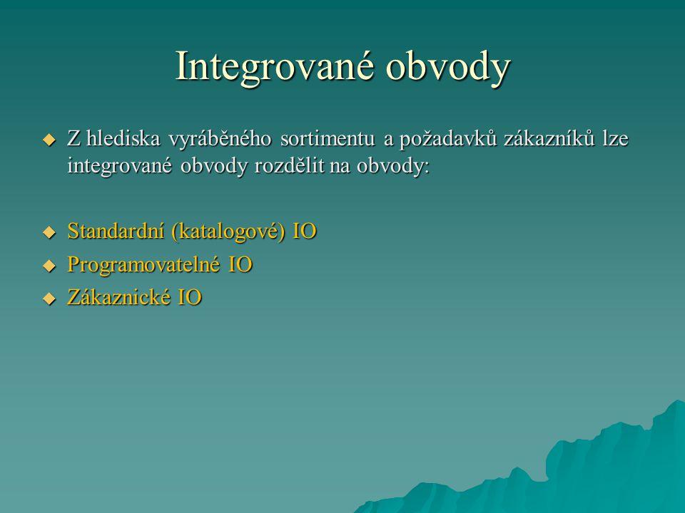 Integrované obvody  Z hlediska vyráběného sortimentu a požadavků zákazníků lze integrované obvody rozdělit na obvody:  Standardní (katalogové) IO  Programovatelné IO  Zákaznické IO