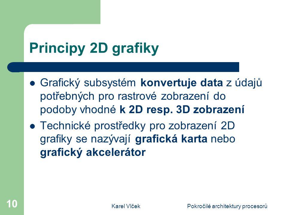 Karel VlčekPokročilé architektury procesorů 10 Principy 2D grafiky Grafický subsystém konvertuje data z údajů potřebných pro rastrové zobrazení do podoby vhodné k 2D resp.