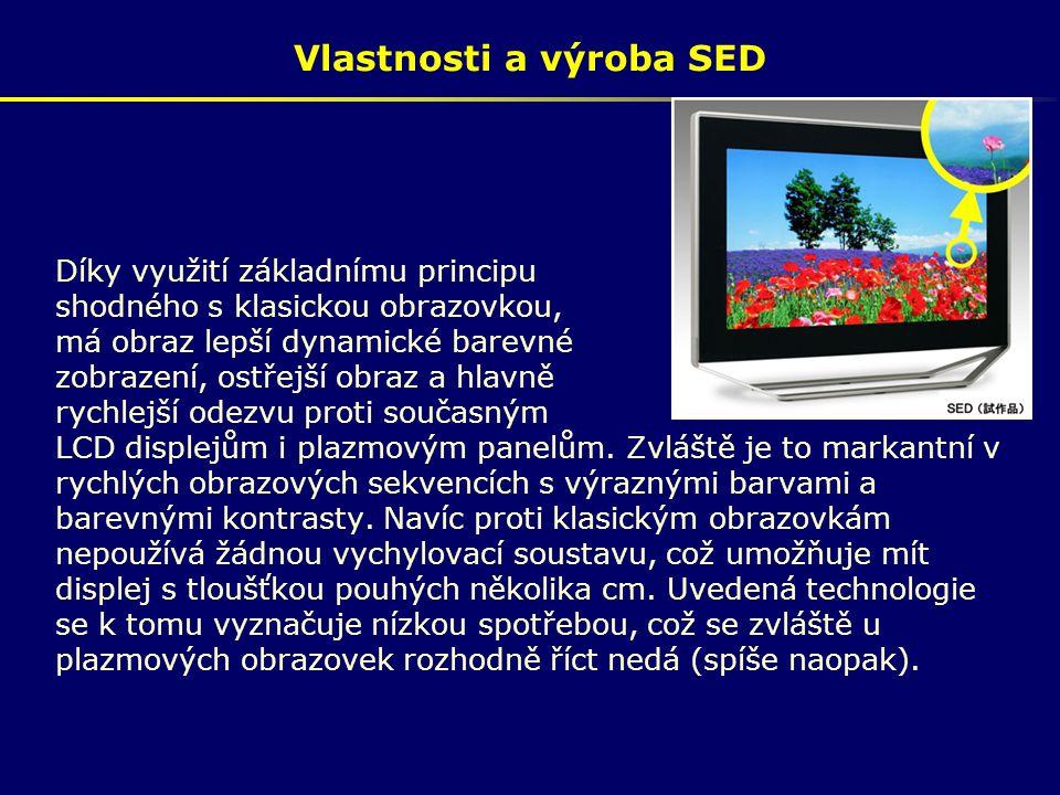 Vlastnosti a výroba SED Díky využití základnímu principu shodného s klasickou obrazovkou, má obraz lepší dynamické barevné zobrazení, ostřejší obraz a