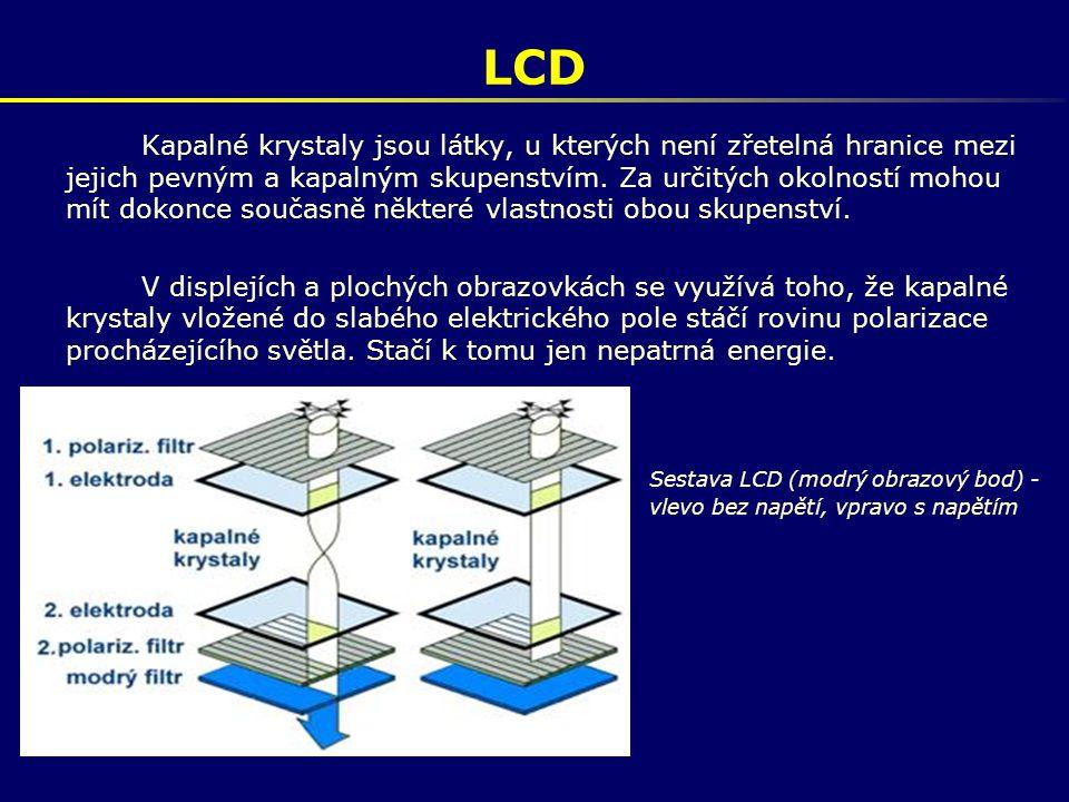 LCD Kapalné krystaly jsou látky, u kterých není zřetelná hranice mezi jejich pevným a kapalným skupenstvím. Za určitých okolností mohou mít dokonce so