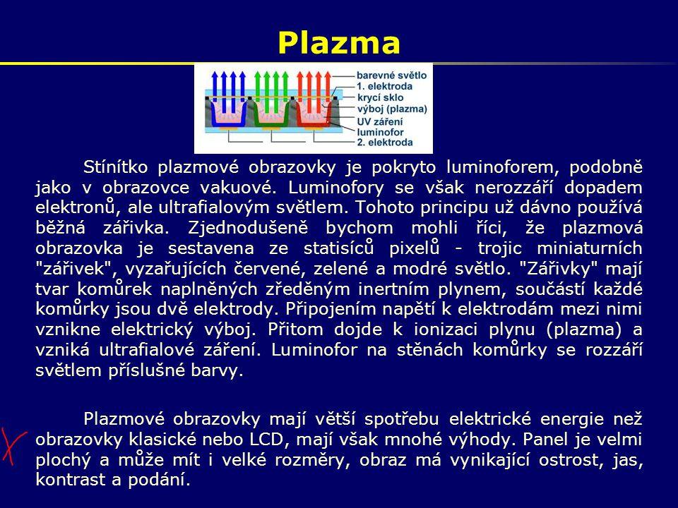 Plazma Stínítko plazmové obrazovky je pokryto luminoforem, podobně jako v obrazovce vakuové. Luminofory se však nerozzáří dopadem elektronů, ale ultra