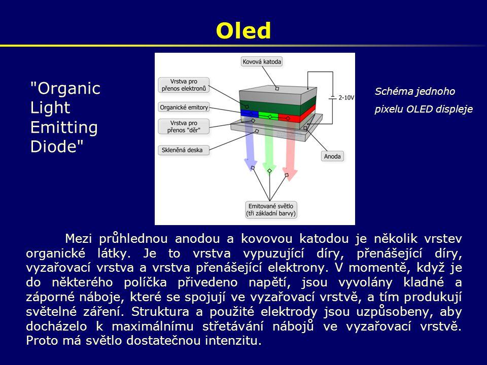 Oled Mezi průhlednou anodou a kovovou katodou je několik vrstev organické látky. Je to vrstva vypuzující díry, přenášející díry, vyzařovací vrstva a v