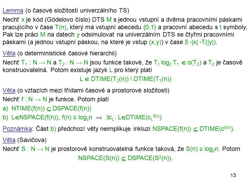 13 Lemma (o časové složitosti univerzálního TS) Nechť x je kód (Gödelovo číslo) DTS M s jednou vstupní a dvěma pracovními páskami pracujícího v čase T