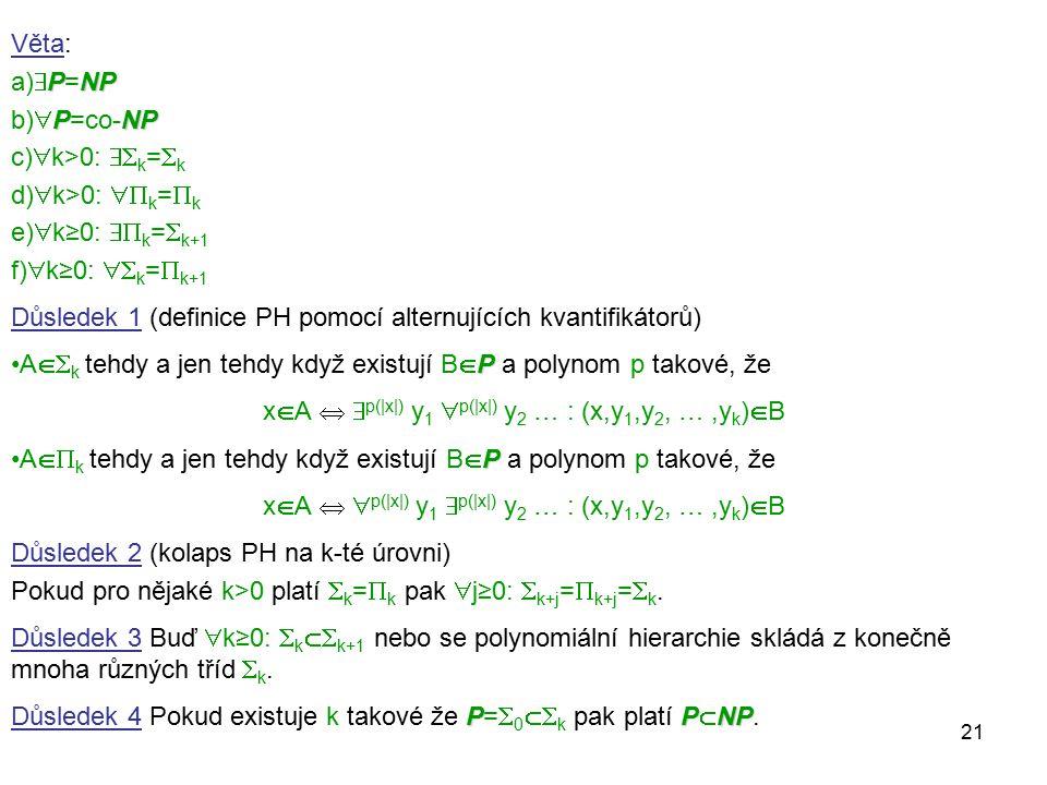 21 Věta: PNP a)  P=NP PNP b)  P=co-NP c)  k>0:  k =  k d)  k>0:  k =  k e)  k≥0:  k =  k+1 f)  k≥0:  k =  k+1 Důsledek 1 (definice P