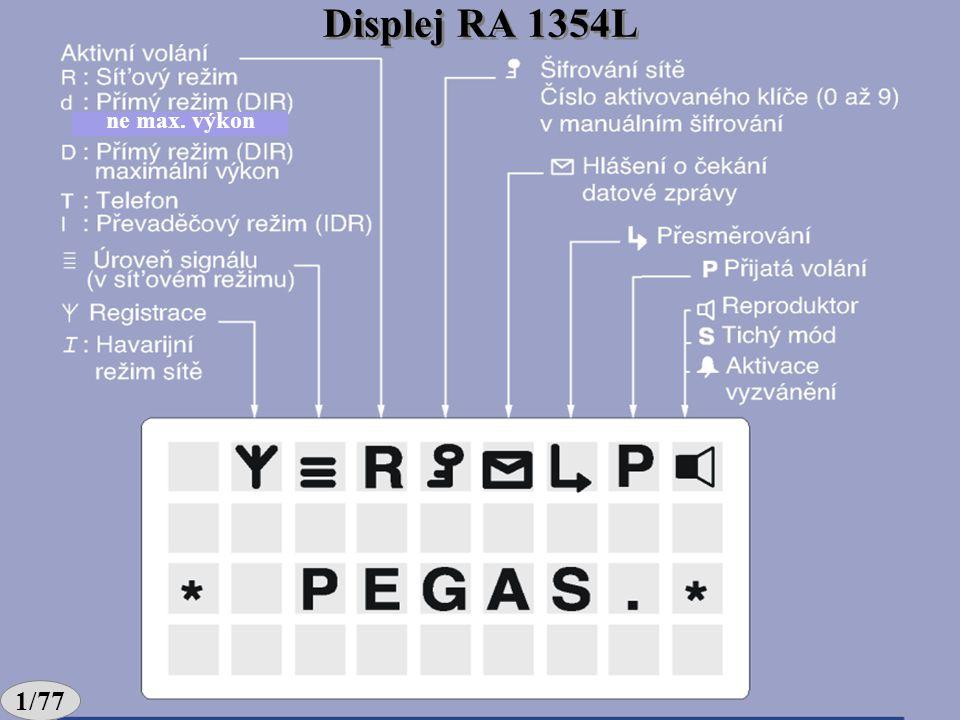 Zpracoval: Ing. Otakar Koucký Tíseň 1/74 Vysílání/Příjem (OK) (B) Menu zpráva, A, Tlačítko SMS aplikací DIR, IDR, parametry GRP (CONF) Tlačítka RA 135
