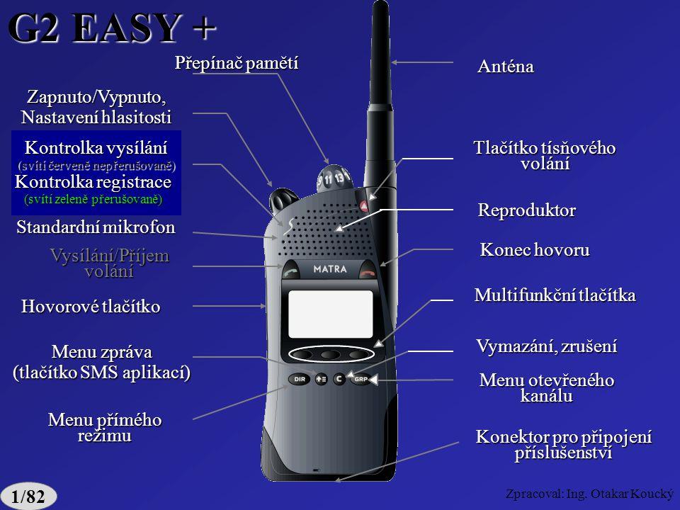 Zpracoval: Ing. Otakar Koucký G2 SMART 1/81 Číselná klávesnice Privátní mikrofon Kontrolka vysílání (svítí červeně nepřerušovaně) Kontrolka registrace