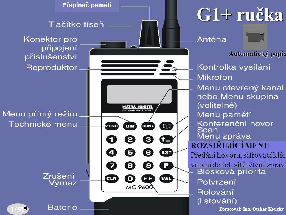 Zpracoval: Ing.Otakar Koucký Popis G1+ (ručka) Přepínač pamětí 1/59 G1+ ručka Zpracoval: Ing.